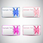 Set of gift cards with bow. — Stock Vector