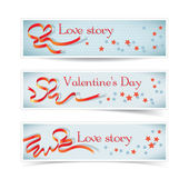 Set of horizontal banners with red heart ribbon. — Stock Vector