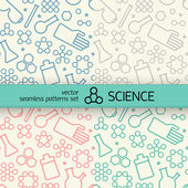 Chemistry symbol seamless patterns set — Stock Vector