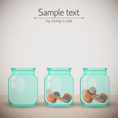 Glass jars for tips with money. Doodle backgroung — Stock Vector