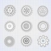 Vector icon set of gears — Stock Vector