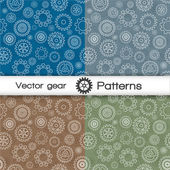 Vector seamless pattern set with gears — Stock Vector