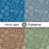 Vektor nahtlose muster set mit getriebe — Stockvektor