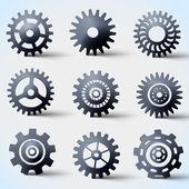 Icon set vector de engrenagens — Vetorial Stock