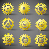 Vector icon set of gears — Stock Vector