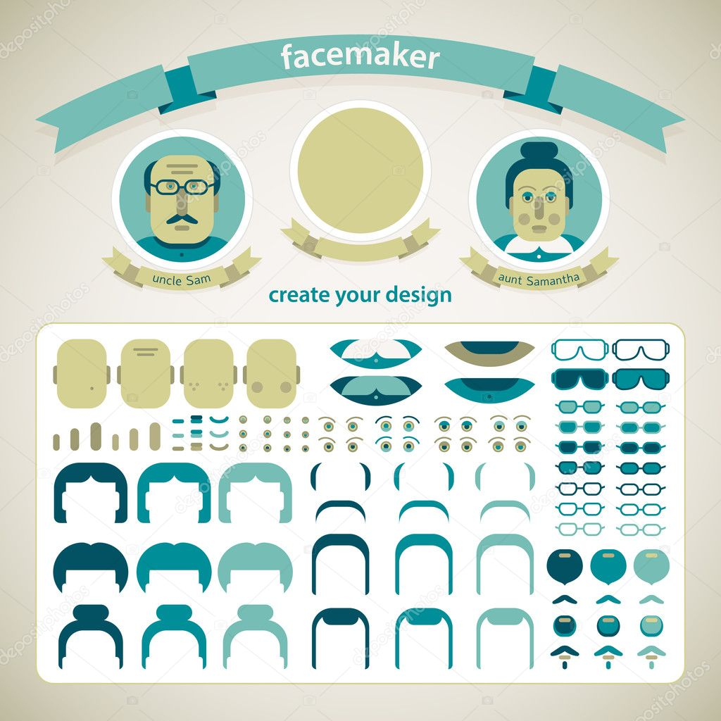Doodle faces pazzle. Vector Illustration, eps10, contains transparencies. — Stock Vector #19606589