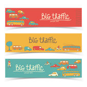 Transportation Doodle banners — Stock Vector