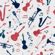 Colorful music seamless pattern. — Stock Vector