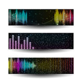 Colorful music sbanners set. — Stock Vector