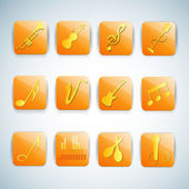 Colorful music icons set. — Stock Vector
