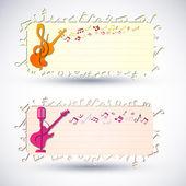 Set di banner colorato musica. — Vettoriale Stock