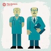 Médecins dessinés à la main — Vecteur