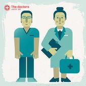 Çizilmiş Doktorlar el — Stok Vektör
