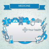 Bannière médicale avec des icônes — Vecteur