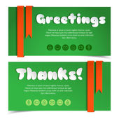 Greetings cards in paper style. — Stock Vector