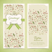 Vintage flowers banners set with text field — Stock Vector