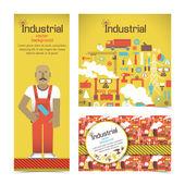 Banner industriali con operaio — Vettoriale Stock