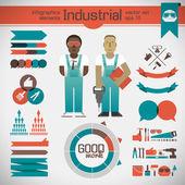Sfondo industriale con operaio — Vettoriale Stock
