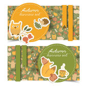 Autumn banners set. Doodle style — Stock Vector