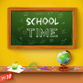 Green chalkboard. School Time. — Stockvector