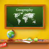 Drawing world map on the classroom blackboard — Stock Vector