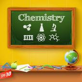 Green chalkboard. Chemistry — Stock Vector
