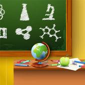 Groene schoolbord. chemie — Stockvector