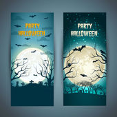Happy Halloween banners set — Stock Vector