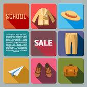 Scool sales icon set — Stock Vector