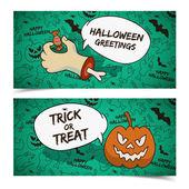 Happy Halloween banners set — Stock Vector