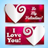 Valentine`s day banners set. Design concept — Vector de stock