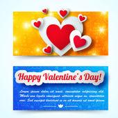 Día de San Valentín banners set. concepto de diseño — Vector de stock