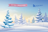 Christmas background with snowy fir trees — Stock Vector