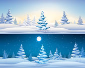 Christmas banners set with snowy fir trees — Stock Vector