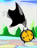 Crow flies is in its beak alarm — Stock Vector