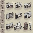 Stock Vector: Vintage cameras set