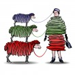 Three Sheep Knitting Woman a Dress - Stock Vector