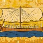 Egyptian papyrus boat fresco — Stock Vector