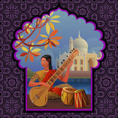 Indian girl playing sitar near Taj Mahal — Stock Vector