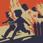 Children running away from fire flames — Stock Vector #38585671
