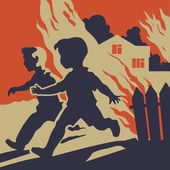 Children running away from fire flames — Stock Vector