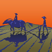 Asian peasants work on a rice plantation — Vector de stock