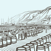 Fish factory — Stock Vector