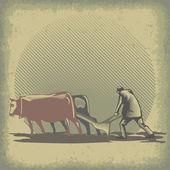 Bulls and harrow — Stock Vector