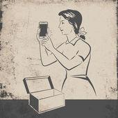 Retro mobile phone — Stok Vektör