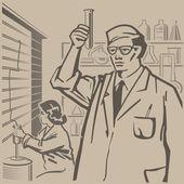 Chemiker forschen — Stockvektor