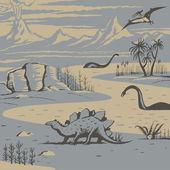 Prehistoric landscape — Stock Vector