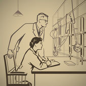 Chemists waiting and researching — Vector de stock