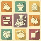 Potraviny ikony 2 — Stock vektor