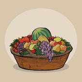 Košík s ovocem — Stock vektor